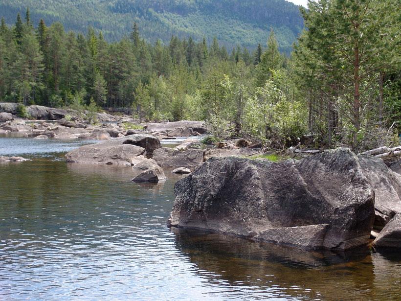Flusslandschaft unterhalb des Wasserkraftwerkes