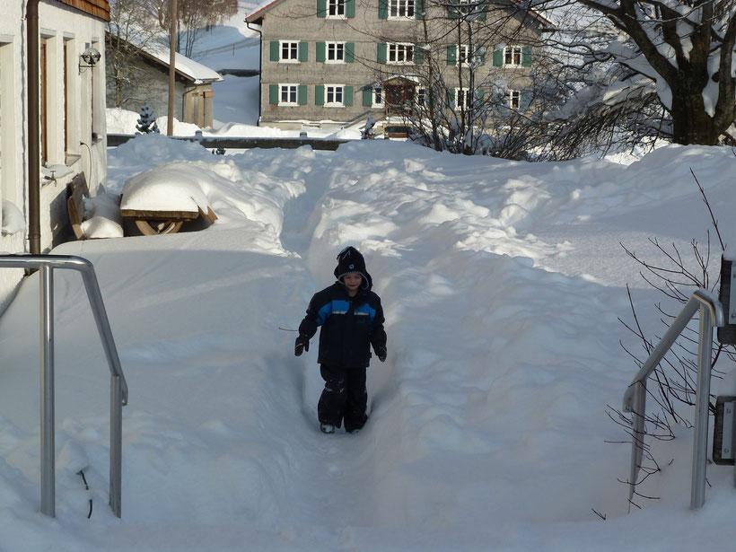 Schnee, Schnee, Schnee. Schnee bis an die Knie, Schnee bis an die Nasenspitze ...