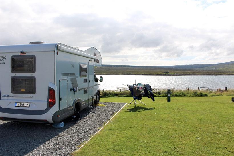 Stellplatz auf dem Campingplatz in Edinbane