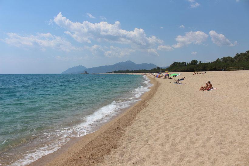 Schöner Strand mit feinkörnigem Kies. Camping Marina, Torre di Bari