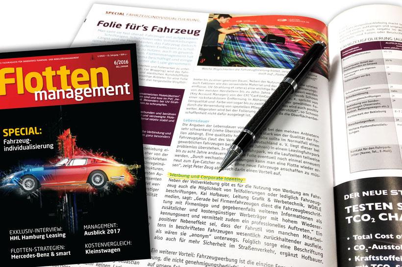 """Bericht im Fachmagazin Flotten-Management: Thema """"Fahrzeug-Individualisierung"""""""