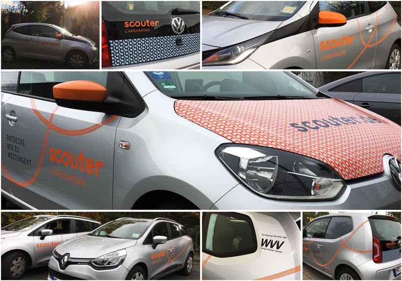 Fahrzeugfolierung, Fahrzeugbeklebung, Autoaufkleber, PKW-Beklebung, Fahrzeugverklebung, Car-Sharing, Auto-Beschriftung