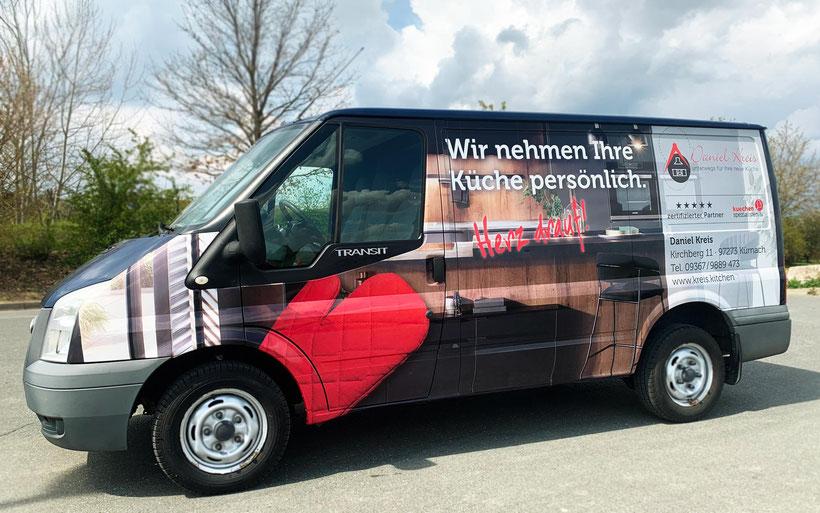 Carwrapping, Fahrzeugvollfolierung, Fahrzeugvollbeklebung, Folierung Werbefahrzeug, Werbetechnik, Autobeklebung (© WÖRLE medien, Werbetechnik Würzburg)