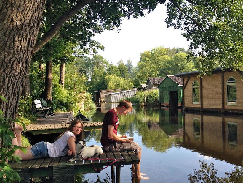 Ferienhaus mit Steg, Alte Havel, Drewensee, Urlaub