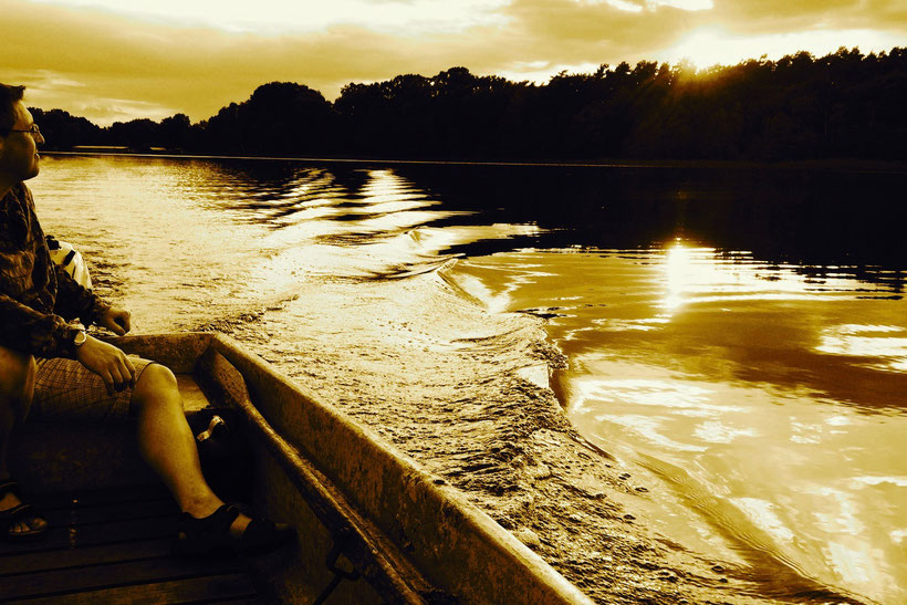 Abend, See, Sonnenuntergang, Angeln, Boot