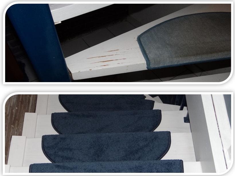 Beispiel: Holztreppe vor und nach der Sanierung
