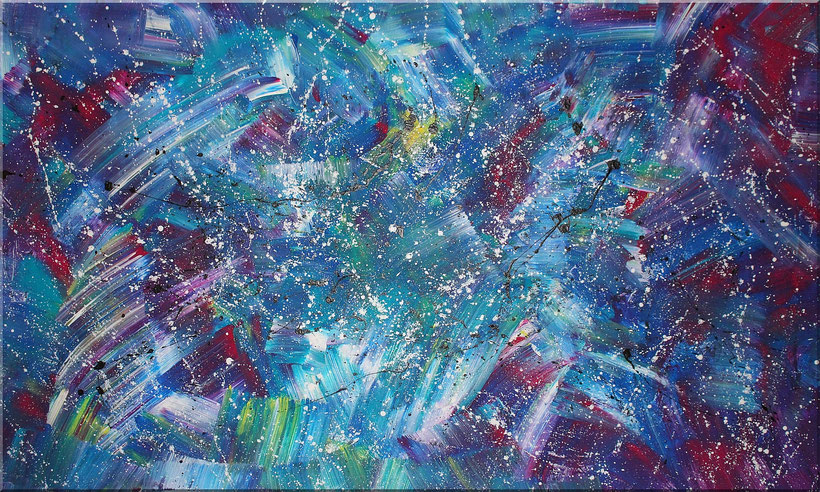 """Burk Art Gemälde """"Euphorie"""" 150 x 90 cm. XXL Gemälde im Panoramaformat. Sehr stylisch."""