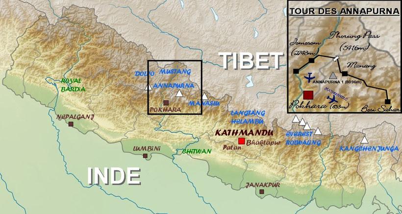 Carte itinéraire tour des Annapurna Népal