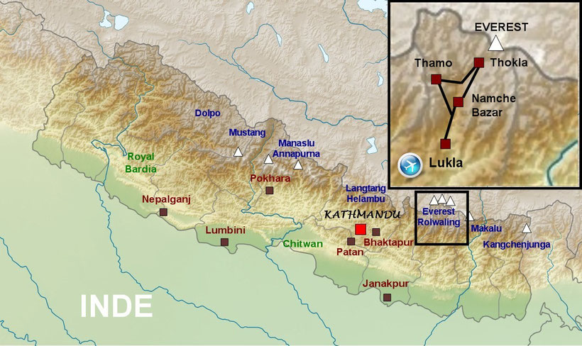 Plan du Népal, carte de trek Népal