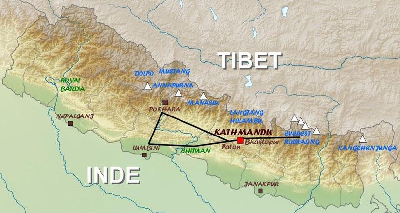 Map of Nepal, carte du Nepal, trek Nepal