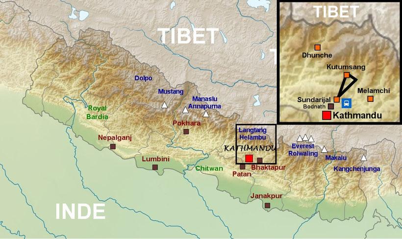 Carte Népal, plan trek de l'Helambu
