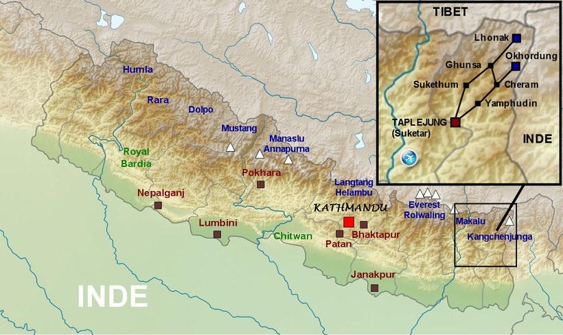 plan trek Kangchenjunga - trekking map Kangchenjunga
