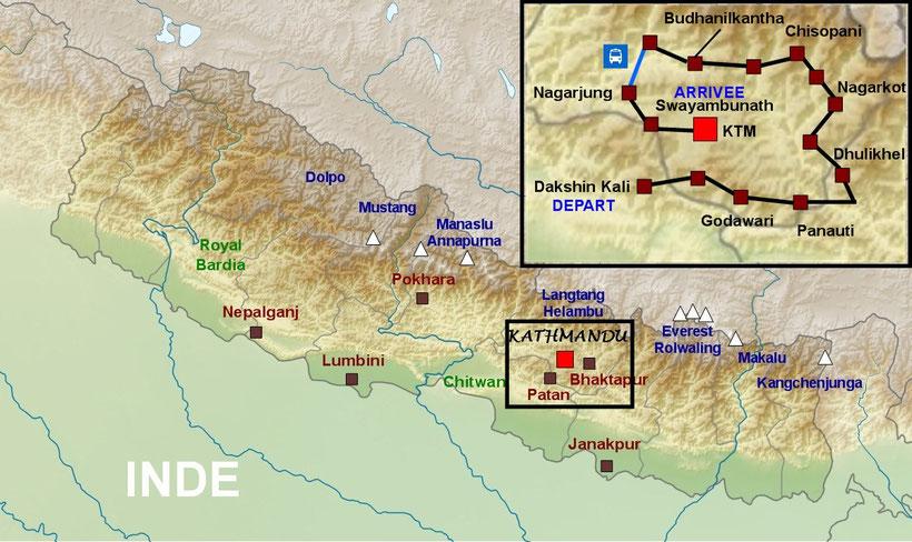 Plan détaillé Népal, trekking Katmandou Népal