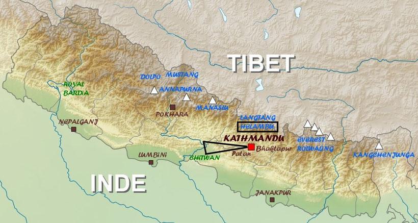 Plan du Népal, Nepal map, voyage au Népal