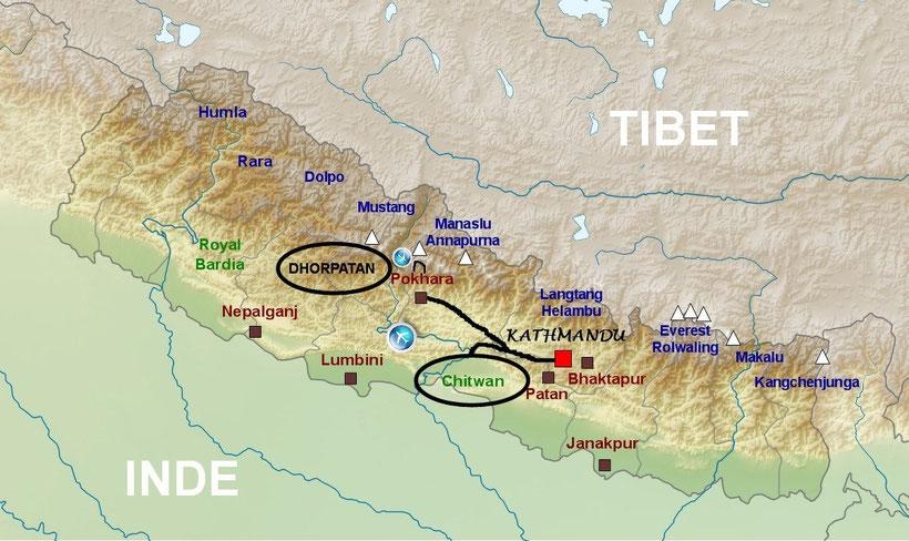 Plan du Népal, Chitwan, Dhorpatan, Balcon des Annapurna, Shivapuri