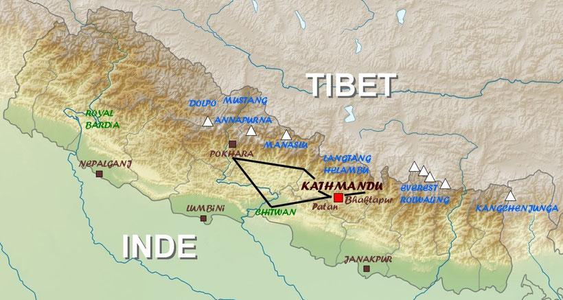 Plan du Népal, carte du Népal, voyage et circuit