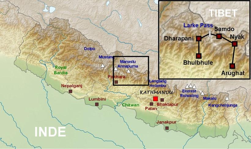 Plan du Népal, tour du Manaslu, trekking