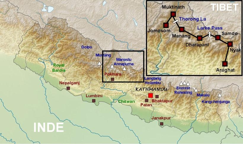 Carte itinéraire du Manaslu aux Annapurna - Népal