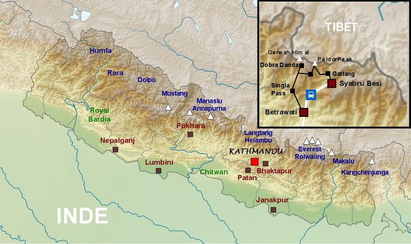 Trekking Ganesh Himal - Ganesh Himal map - carte du Ganesh Himal - Trek Nepal
