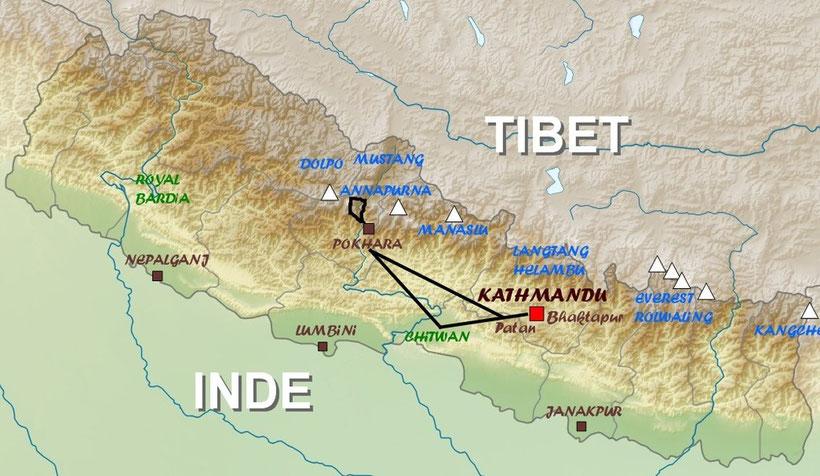 Carte Népal, trek , trekking Nepal