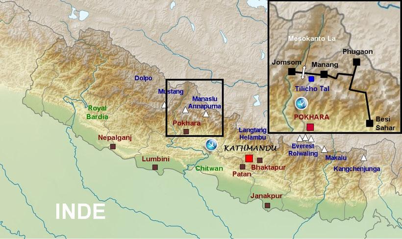 Carte du Népal, Naar Phu trek