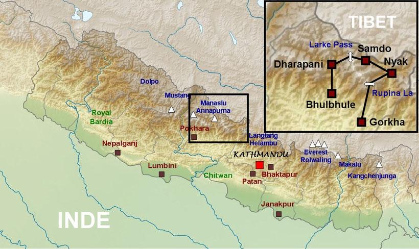 Plan du Népal, tour du Manaslu, Népal