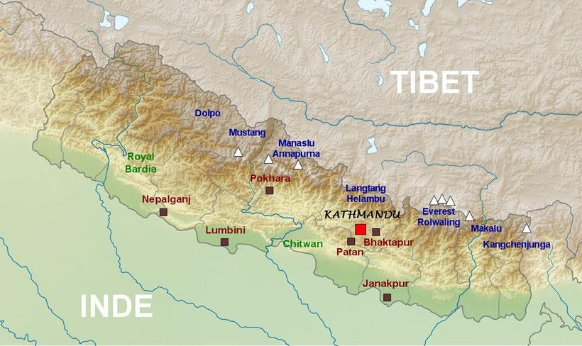Carte générale du Népal, trek Mustang Dolpo