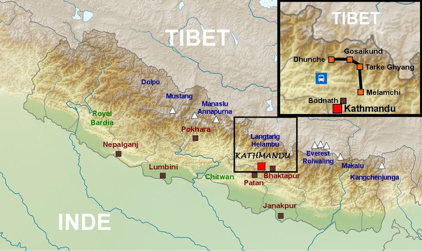 Plan Népal, Nepal map