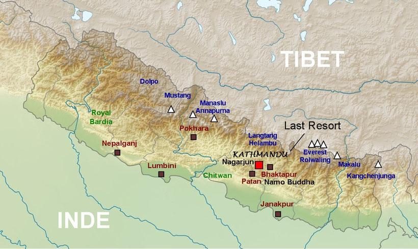Carte Népal, plan du Népal, trekking