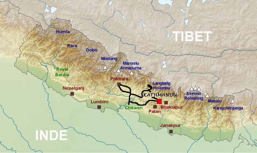 Location moto Katmandou - plan du Népal en moto - parcourir le népal en moto