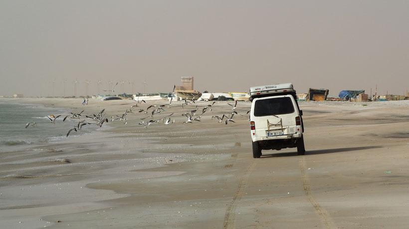 piste sur la plage mauritanie