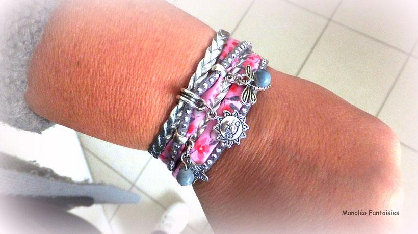 Bracelet TAO manchette 2 tours, perles, soleil, libellule, étoile, rose, gris, argenté