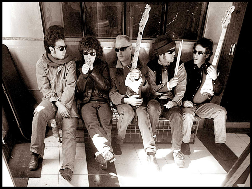 Publicity photo of  the Spanish rock band 'Soulteros' in Seville, Spain 2003. 'La Banda Más Salvaje de Todos Los Tiempos'