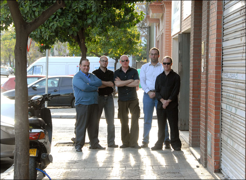 Spanish-English rock group Royal Scumbag Orchestra promoting their album 'Prelude to a Punch'. 2008. Seville. Spain