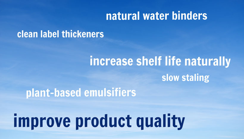 improve product quality: natural water binders, clean label thickeners, increase shelf life naturally, slow staling, plant-based emulsifiers