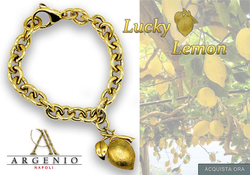 Lucky Lemon - limone in argento placcato oro bracciale alta qualita'