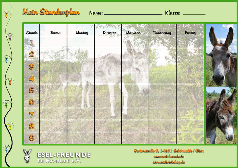 Esel-Workshop | Eselfreunde Esel-Stundenplan gratis Download