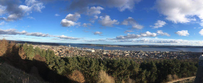 Panoramic view over the Firth of Tay on a sunny day in March