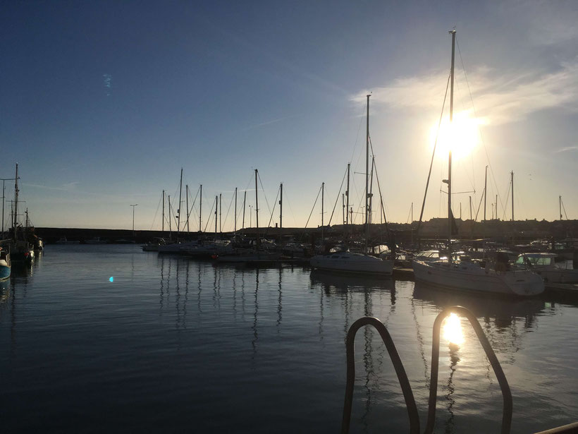 Sun setting over Anstruther harbour