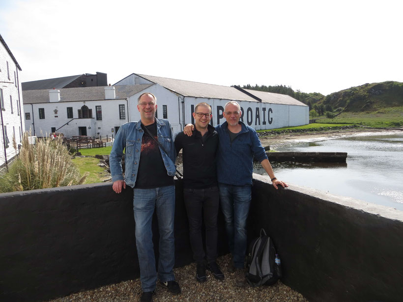Having fun at Laphroaig Distillery