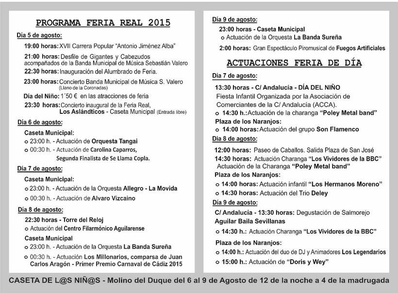 Feria Real en Aguilar de la Frontera 2015 Programa