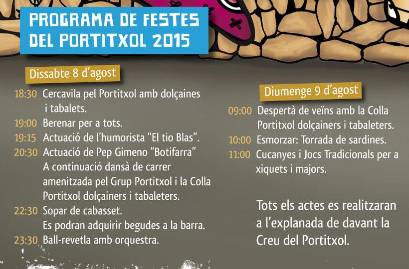 Programa de las Fiestas del Portitxol 2015 en Xàbia - Jávea
