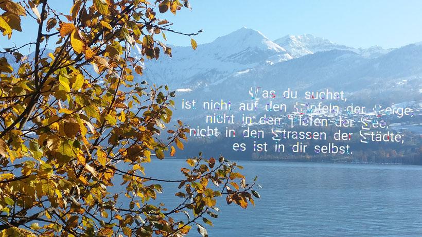 Was du suchst ist nich auf den Gipfeln der Berge, nicht in den Tiefen der See, nicht in den Strassen der Städte; es ist indir selbst