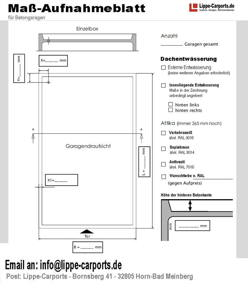 Maß-Aufnameblatt für Betongaragen