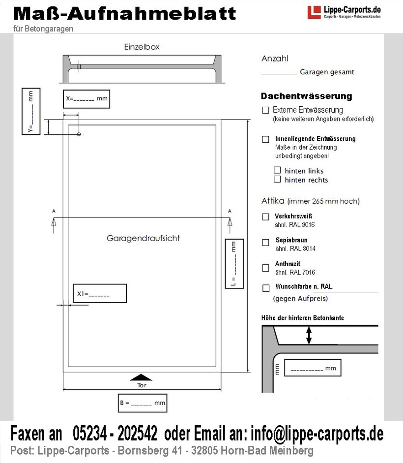 Maß-Aufnahmeblatt für Betongaragen