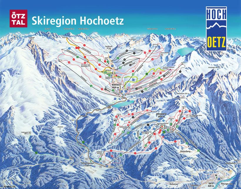 Oetz, Pistenpanorama, Winter, Panoramakarte, Oetz, Kühtai, Pistenplan, Skikarte, Pistenpanorama, Ski