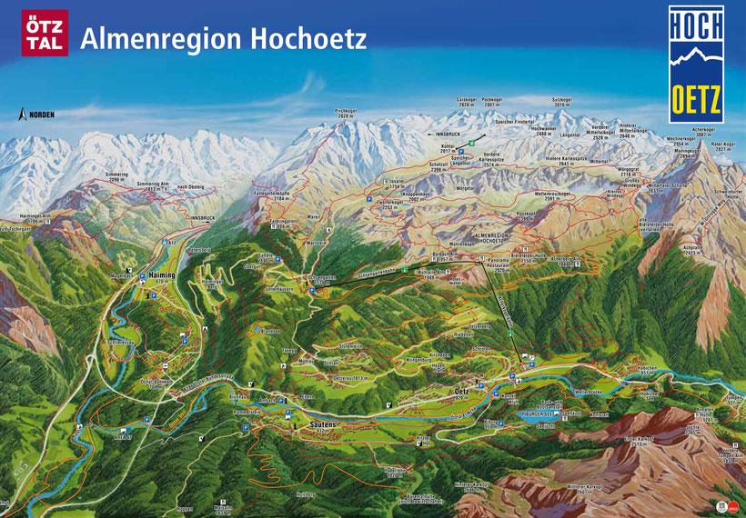 ferienwohnung ötztal, ferienwohnung oetz, Panoramakarte Oetz, Almenregion Hochoetz, Sommer