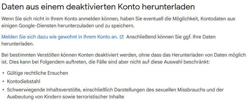 Google Konto deaktiviert kein Zugriff auf Dateien in Google Drive - Rechtsanwalt Sven Nelke