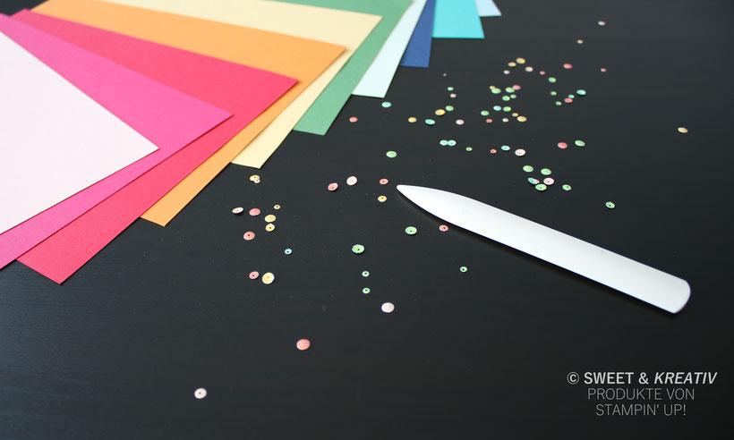 Regenbogenfarben - Deko von Stampin' Up!