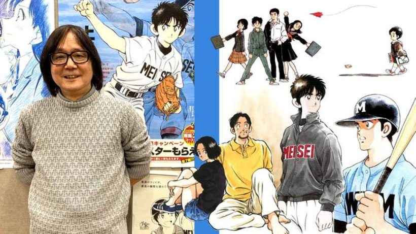 Nella foto Mitsuru Adachi tra i suoi Manga